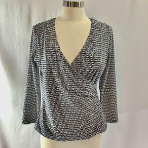 Jonrs New York vneck surplice knit top size M